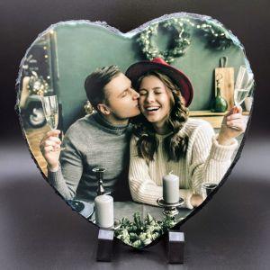 Xmas Photo Slate Heart